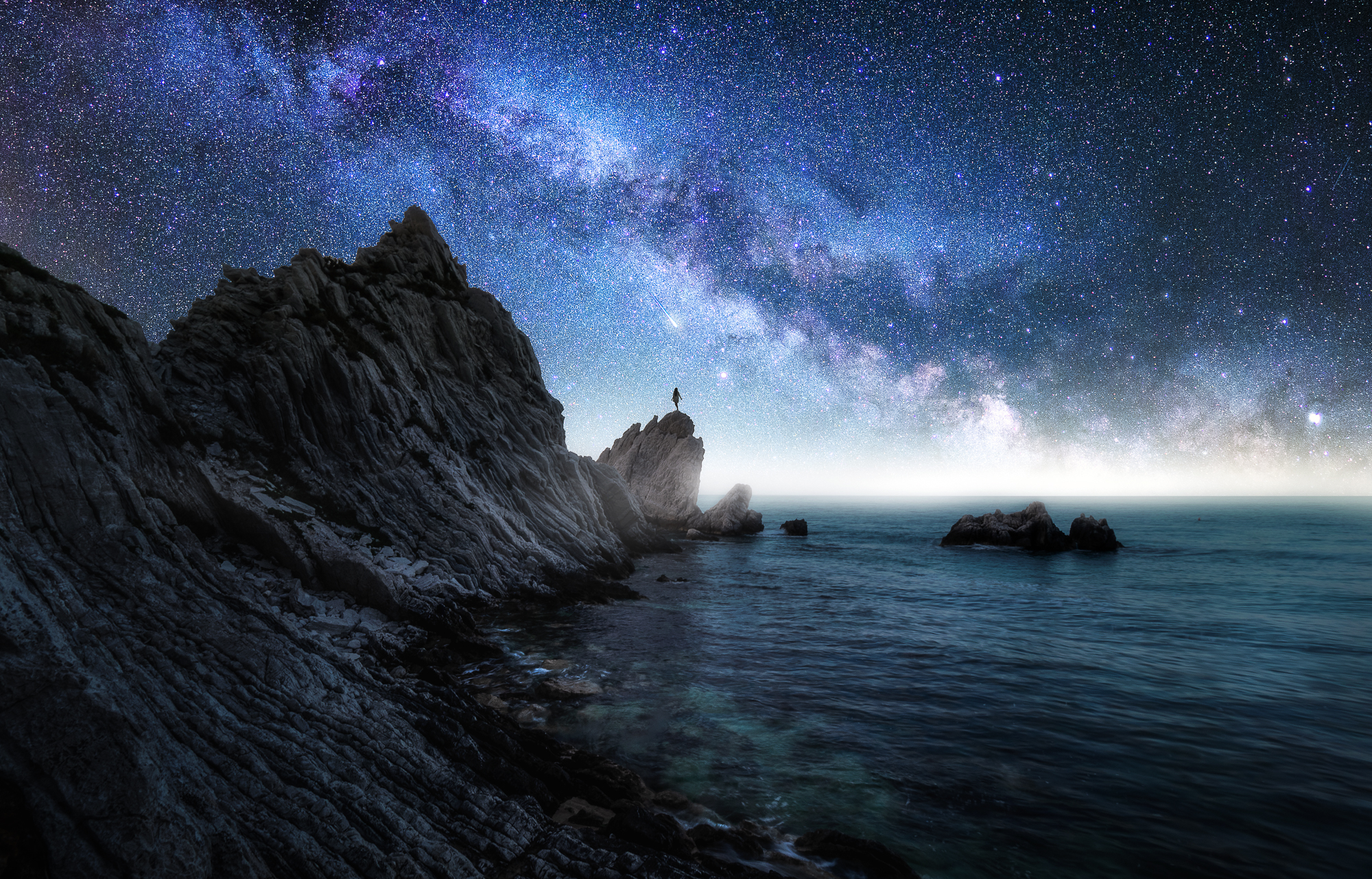 Image editing workshop coaching Milkyway foreground landscape composing and after-after